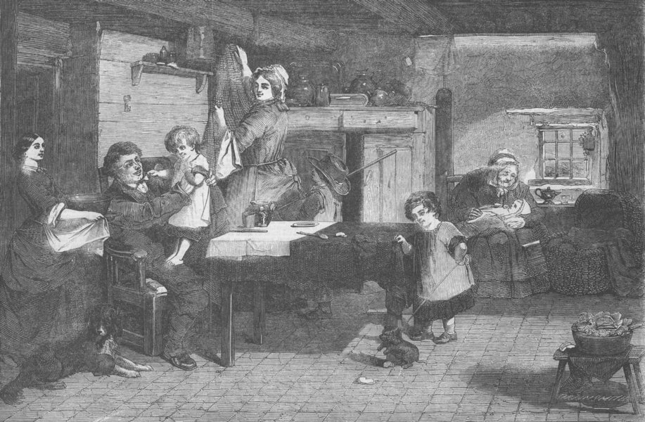 Associate Product FAMILIES. Home, antique print, 1858