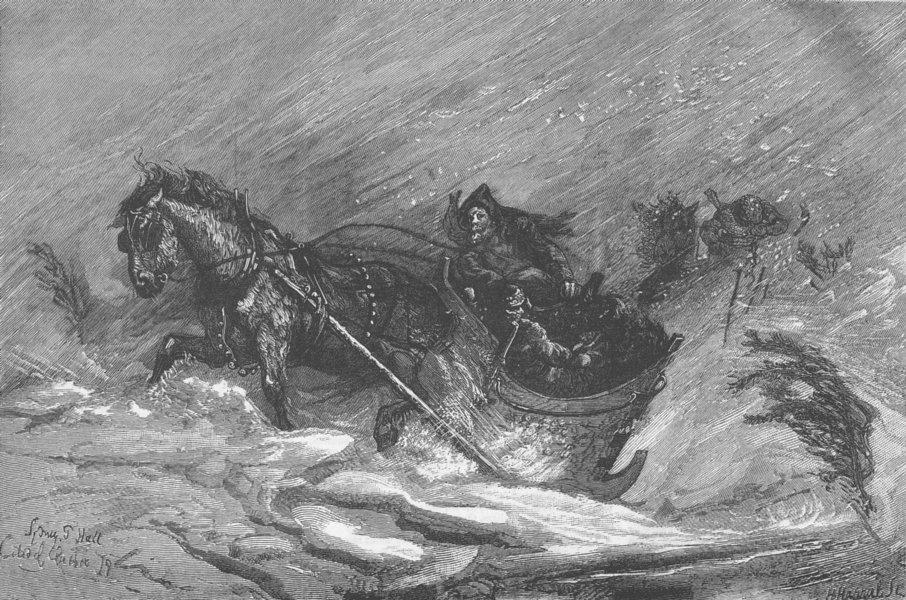Associate Product CANADA. Horse, sledge, snowstorm, St Orleans, Quebec, antique print, 1879