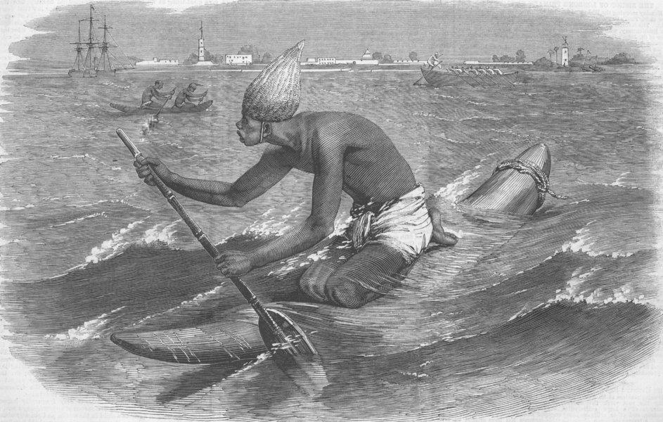 Associate Product INDIA. Catamaran Postman, antique print, 1858