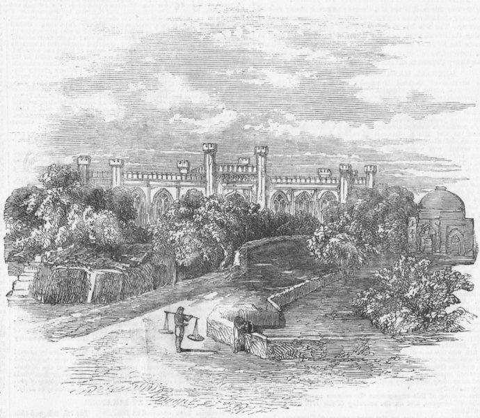 Associate Product INDIA:The British College at Agra, antique print, 1857