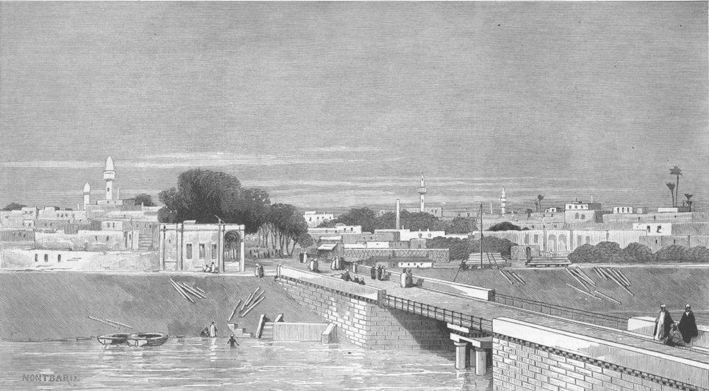Associate Product EGYPT. Cairo. Swing bridge, Ismailiyeh Canal, Boulak, antique print, 1883