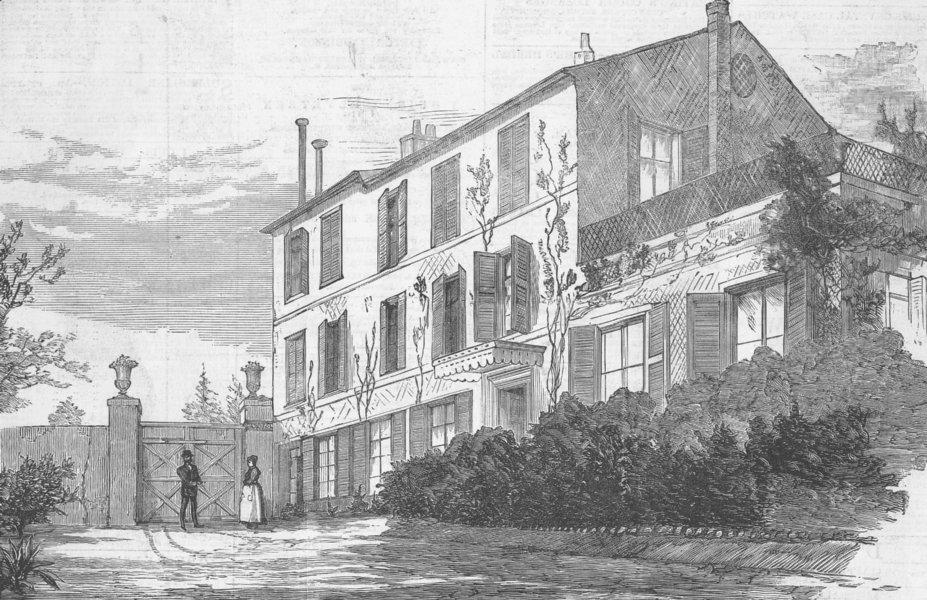 Associate Product FRANCE. House where Gambetta died, Ville d'Avray, antique print, 1883