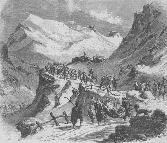 Associate Product FRANCE. French troops crossing Mont Cenis, antique print, 1859
