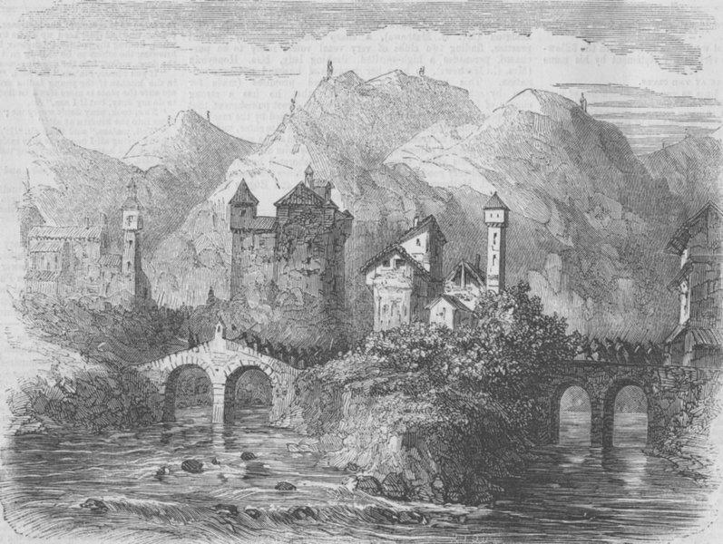 Associate Product SWITZERLAND. Isoura, on the Ticino, antique print, 1859