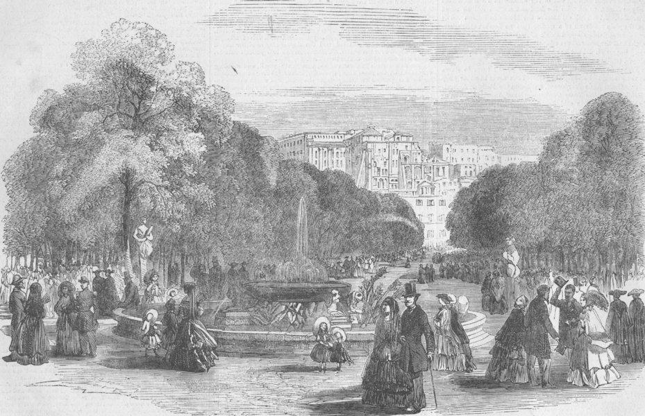 Associate Product ITALY. Naples. Villa Reale, promenade of. Napoli, antique print, 1856