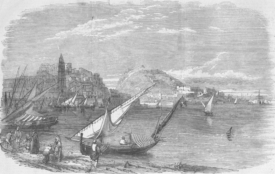 Associate Product ITALY. Naples. Gaeta. Royal Palace, antique print, 1856