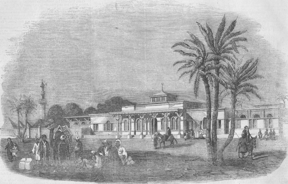 Associate Product EGYPT. The Cairo Railway Station, antique print, 1856