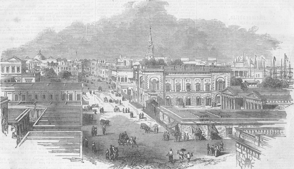 Associate Product INDIA. A street in Kolkata, antique print, 1855