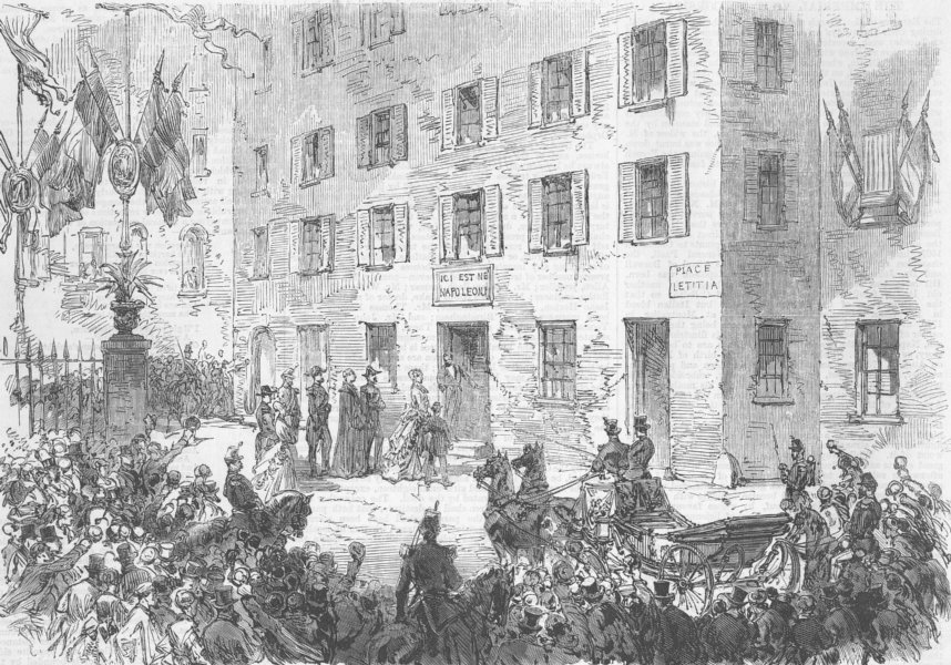 Associate Product FRANCE. House where Napoleon was born, Ajaccio, antique print, 1869