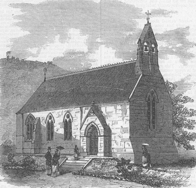 Associate Product GERMANY. Holy Trinity Church, Wildbad, Württemberg, antique print, 1869