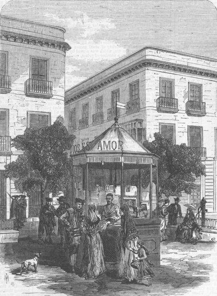 Associate Product SPAIN. Kiosk for sale of Bibles, Seville, antique print, 1869