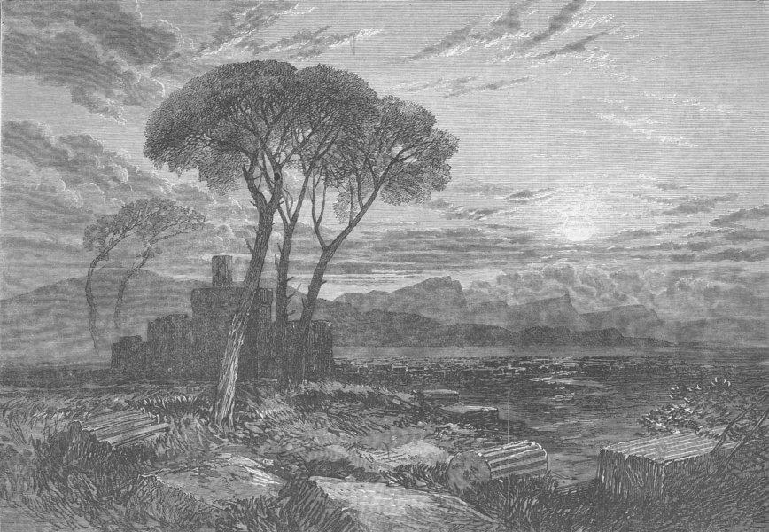 Associate Product ITALY. Coast near Porto D'Anzio, antique print, 1869