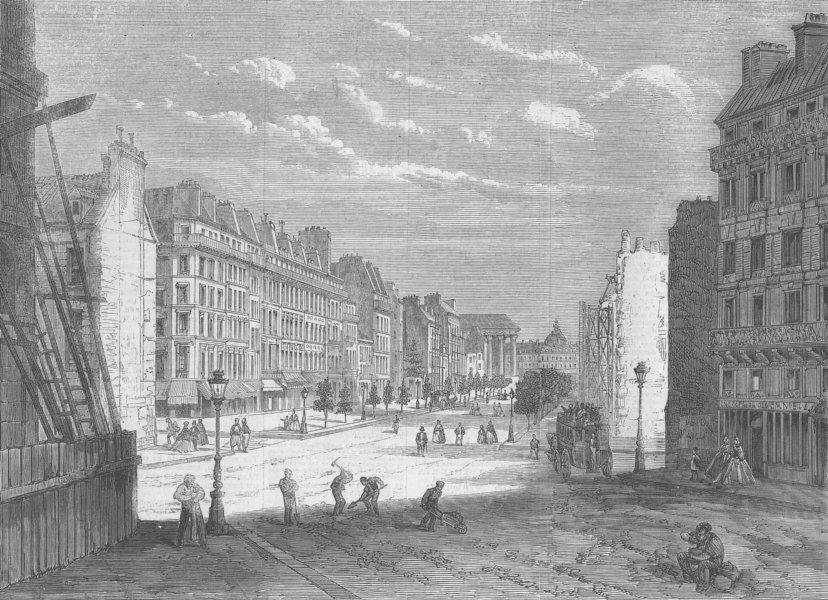 Associate Product FRANCE. Blvd Malesherbes, towards Madeleine, antique print, 1861