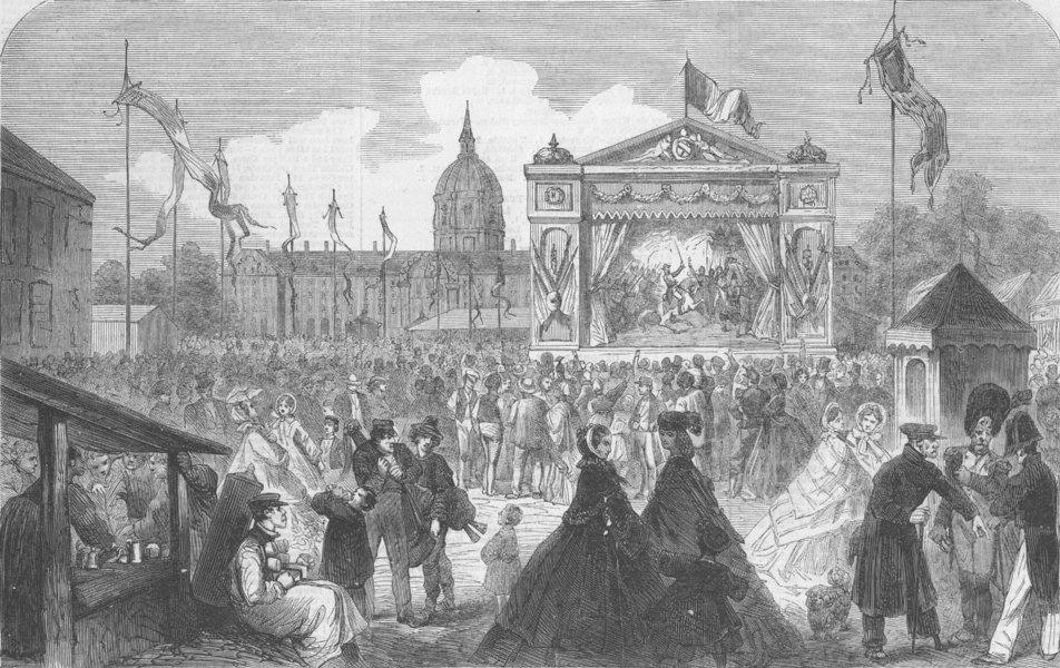 Associate Product PARIS. Fetes, Esplanade des Invalides , antique print, 1861