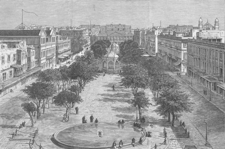 Associate Product EGYPT. Square, Alexandria, chief rioting, antique print, 1882