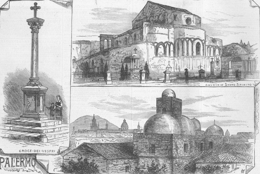 Associate Product ITALY. Sicilian Vespers; San Giovanni degli Eremiti, antique print, 1882