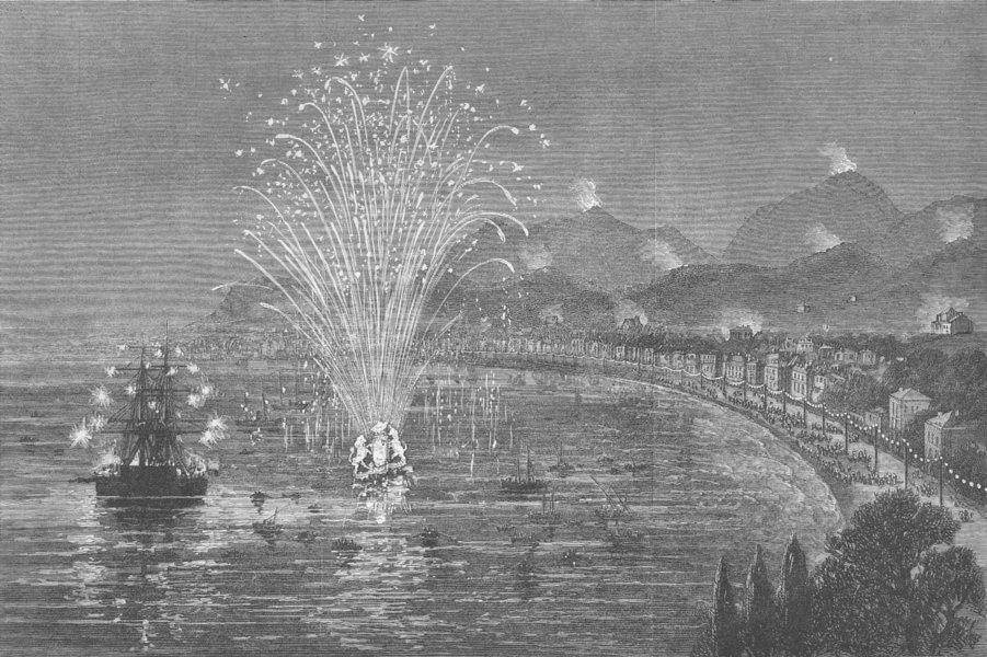 Associate Product FRANCE. Lights, Menton for Queen's visit, antique print, 1882