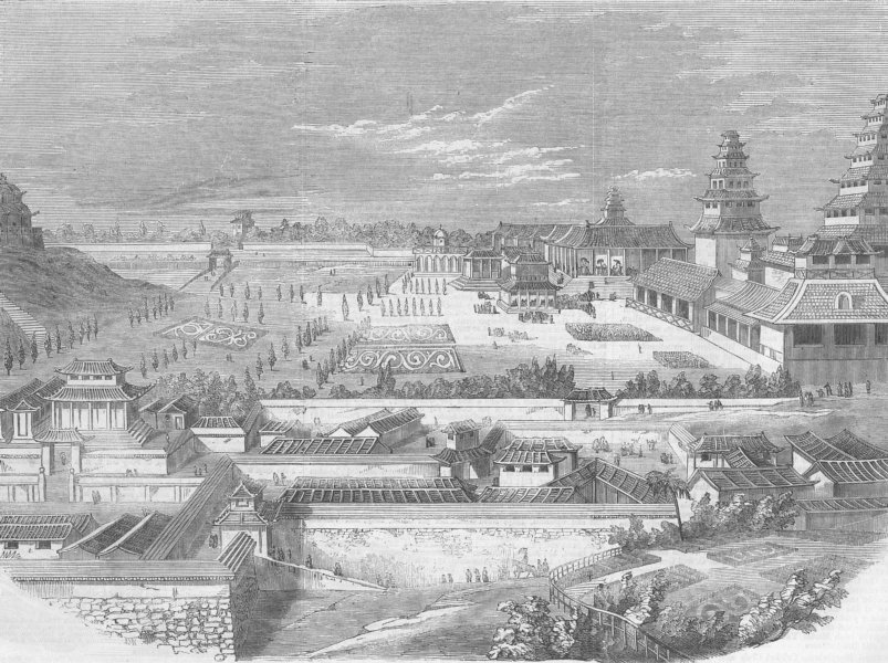 Associate Product JAPAN. Imperial Palace, Jeddo , antique print, 1860