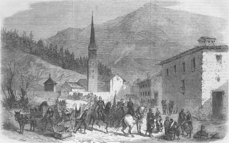Associate Product FRANCE. Modane, Savoie-troops, route to Chambery, antique print, 1860