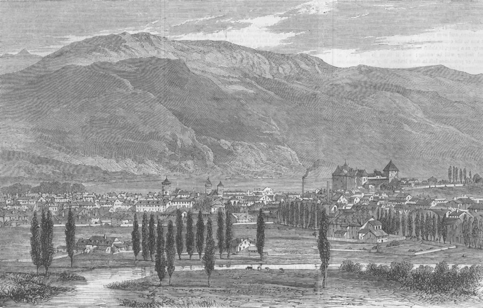 Associate Product FRANCE. Treaty of Turin. town & lake Annecy, Savoie, antique print, 1860