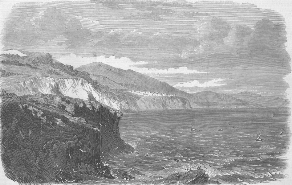 FRANCE. Monaco, Mediterranean, antique print, 1860