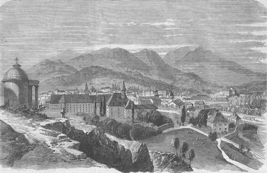 Associate Product FRANCE. Chambery, Savoie, from Mount Calvary, antique print, 1860