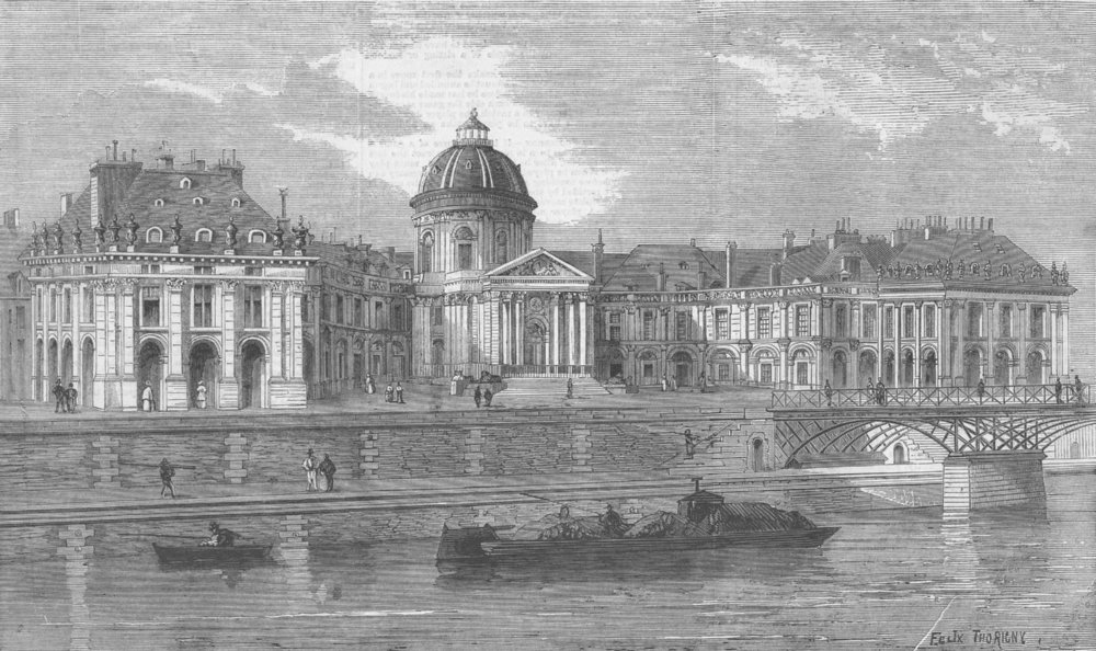 Associate Product FRANCE. Palace of institute, Paris, antique print, 1860