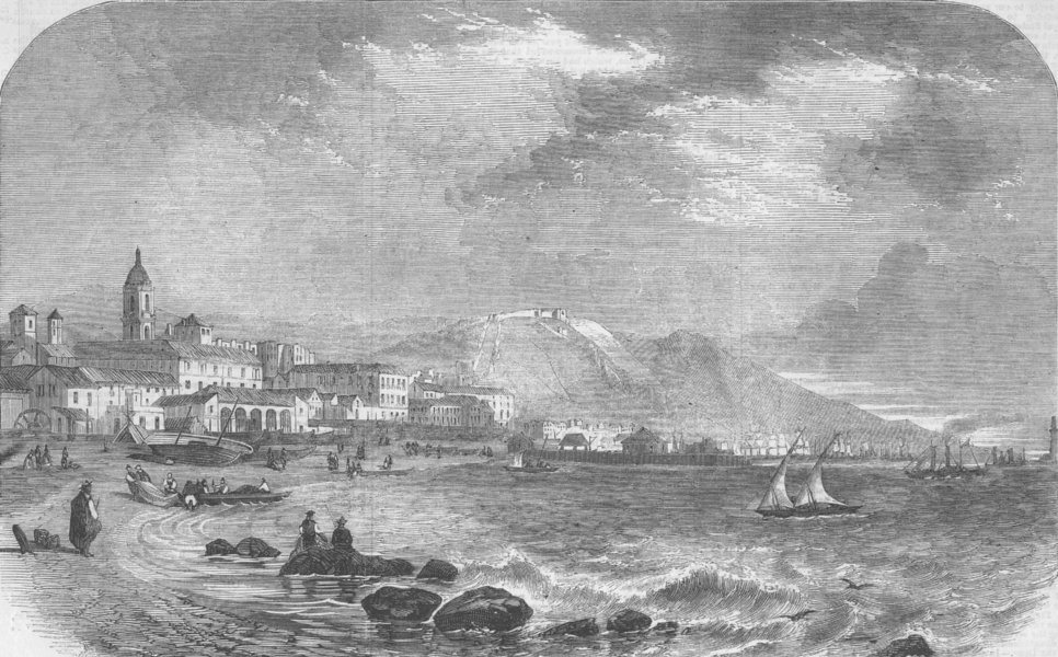 Associate Product SPAIN. View of the port of Malaga, antique print, 1860