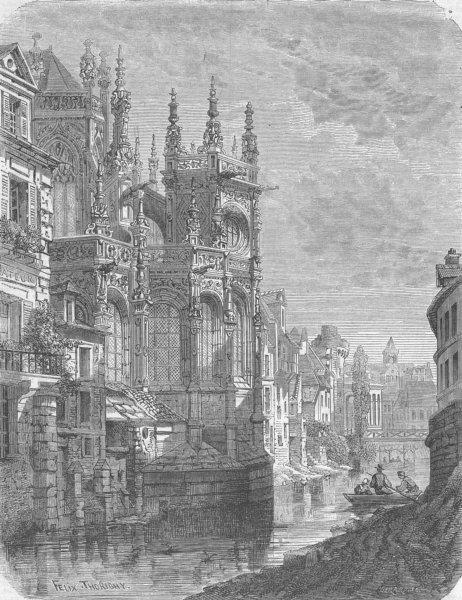 Associate Product FRANCE. Apsis of St Peter's Church, Caen, Normandy, antique print, 1860