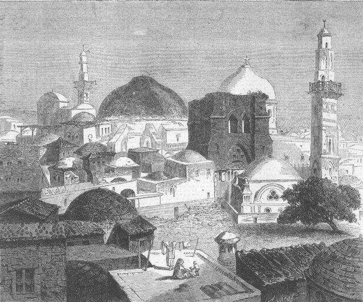 Associate Product ISRAEL. Jerusalem, Cupola of Holy Sepulchre church, antique print, 1862