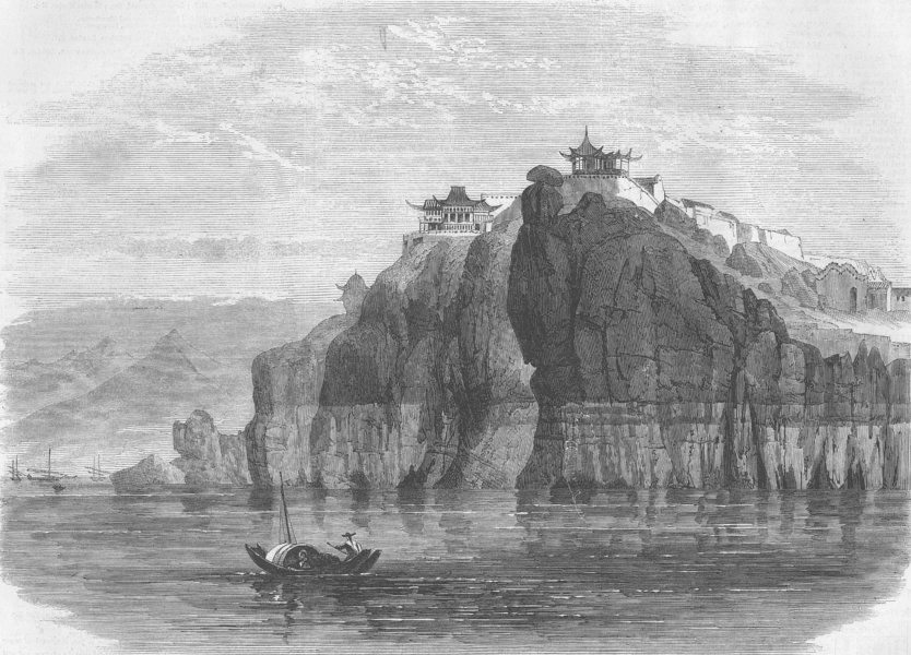 Associate Product CHINA. Cliff & temple, Hukau, antique print, 1864