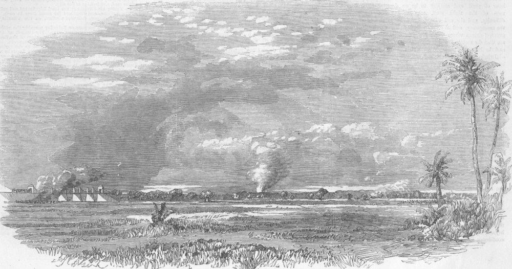 INDIA. Mutiny. Engagement, Ghazeodeen-Nuggur, antique print, 1857