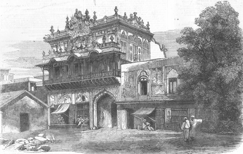 Associate Product INDIA. House built nr Lahore Gate of Delhi, antique print, 1857