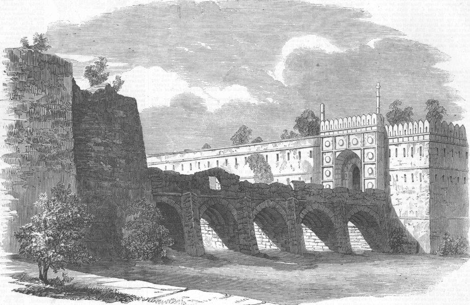 Associate Product INDIA. Mutiny. Bridge, Delhi nr Mogul's Palace, antique print, 1857
