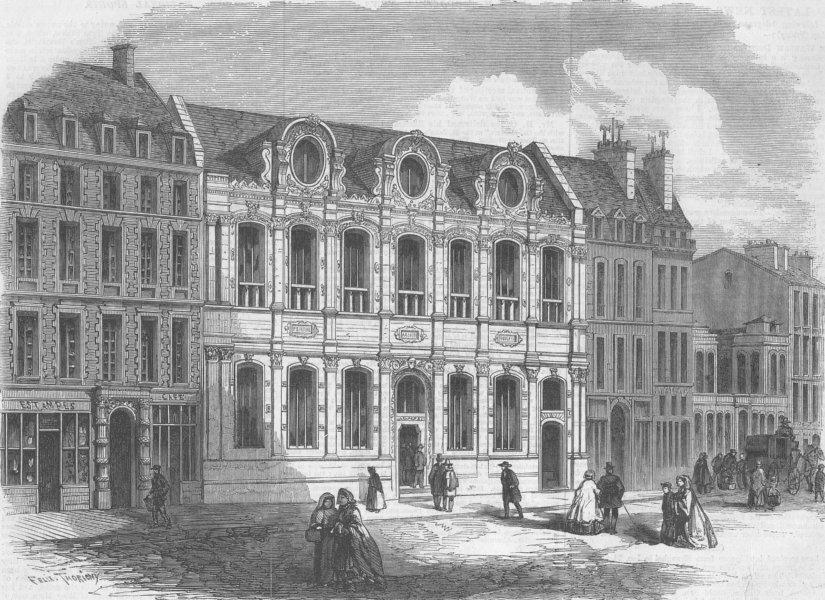 Associate Product FRANCE. New Façade of School Fine Arts, Paris, antique print, 1861