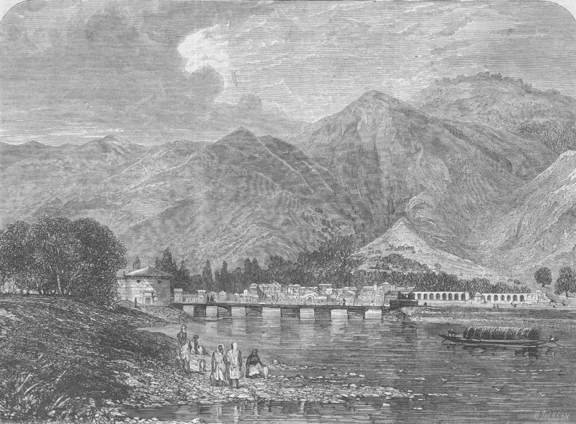Associate Product INDIA. Baramula, Valley of Kashmir, antique print, 1865
