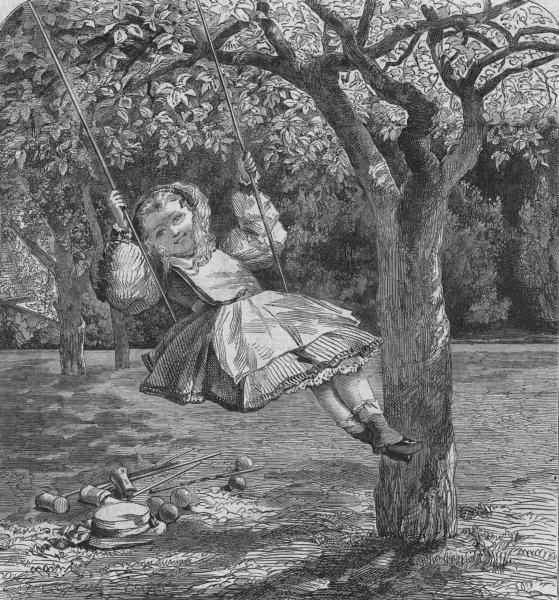 Associate Product CHILDREN. Girl on a swing in a garden, antique print, 1864