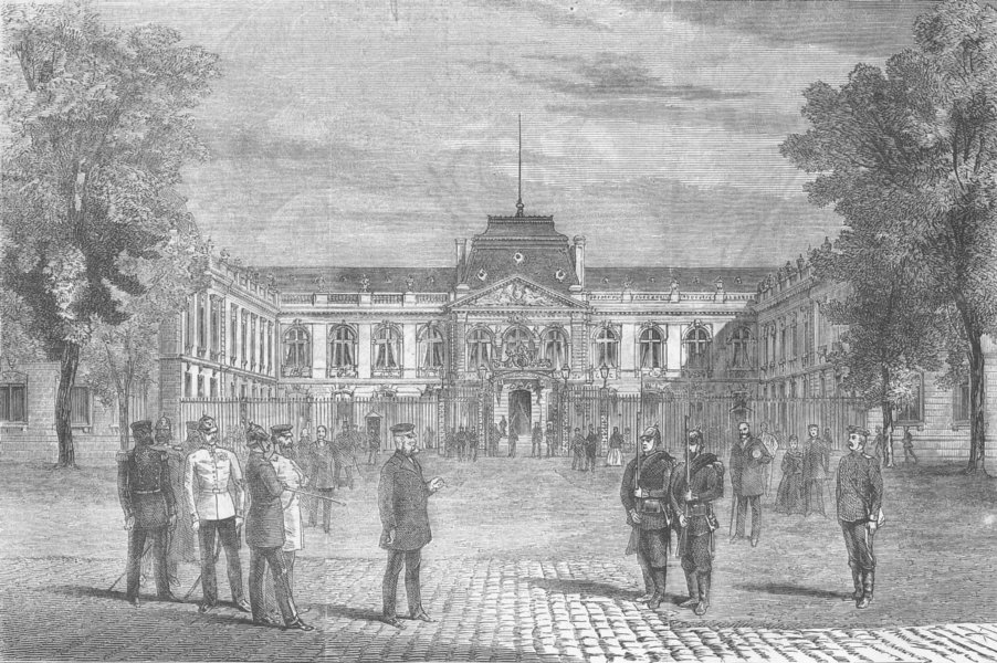 Associate Product GERMANY. Headquarters of the King Prussia at Versailles, antique print, 1870