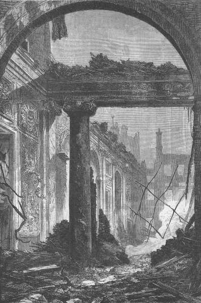 Associate Product FRANCE. Château de St-Cloud. Ruins of Place, antique print, 1870