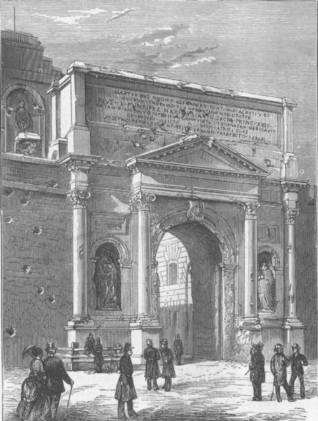Associate Product ITALY. Entry of Italians into Rome. Porta Pia, antique print, 1870