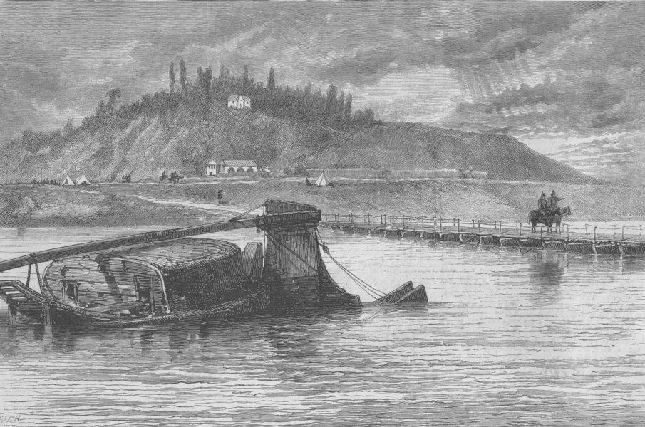 Associate Product FRANCE. Pontoon bridge across Seine, nr St Germain's, antique print, 1870