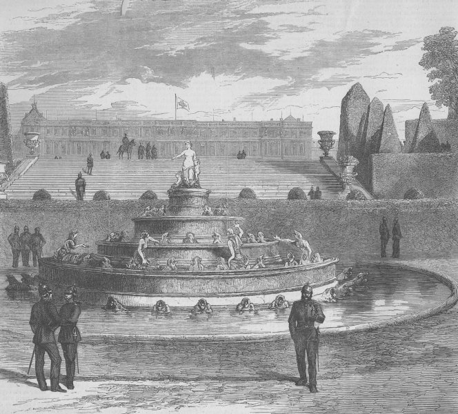 Associate Product FRANCE. Prussians round frog fountain, Versailles, antique print, 1870