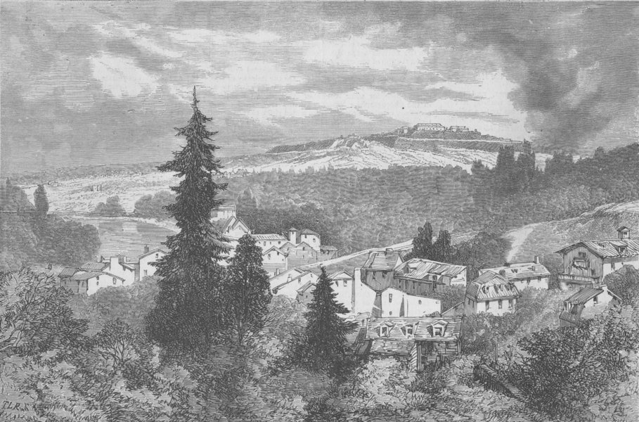 Associate Product FRANCE. Ft Mont-Valérien from Gerome's studio, antique print, 1870
