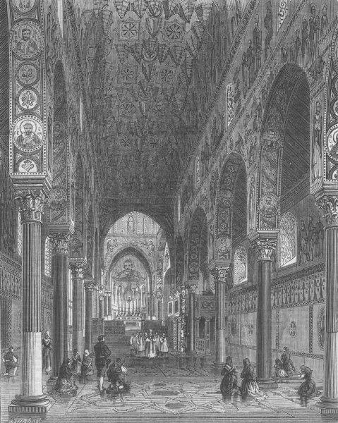 Associate Product ITALY. Chapel Royal, Palermo, antique print, 1860