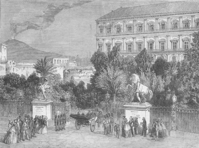 Associate Product ITALY. Gates of King's Palace, Naples, antique print, 1860
