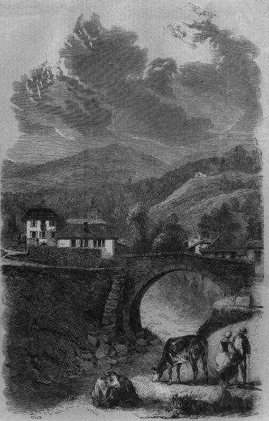 Associate Product FRANCE. Village & bridge of Sallanches, antique print, 1860
