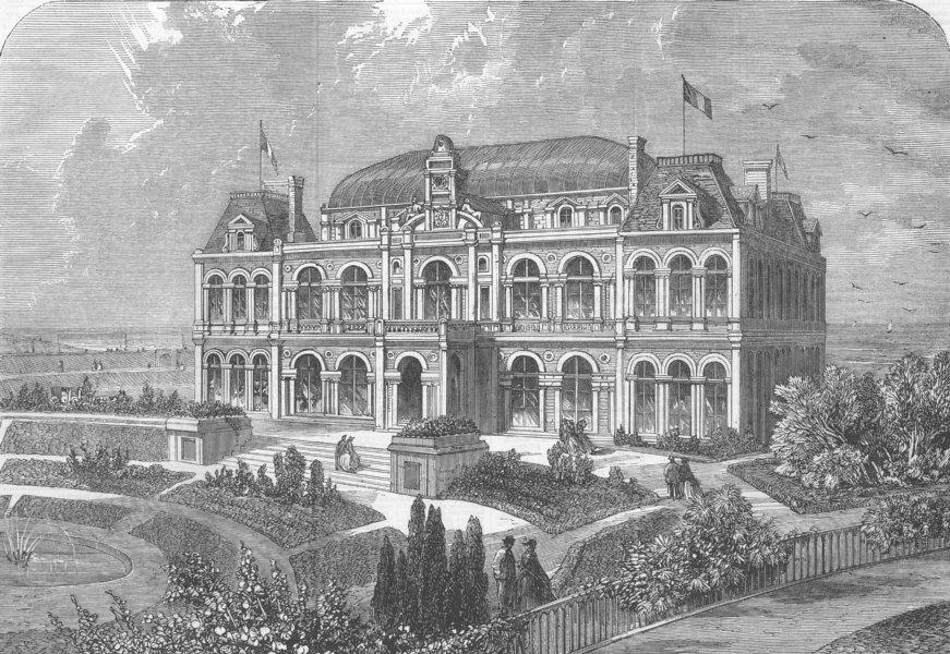 Associate Product FRANCE. New bathing house, Boulogne-Sur-Mer, antique print, 1860