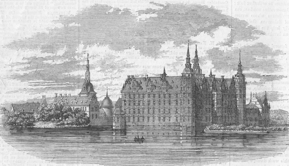 Associate Product DENMARK. Fredericksborg palace, burnt down, from lake, antique print, 1869
