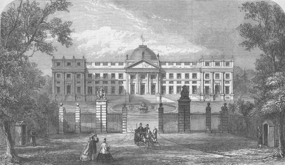 Associate Product BELGIUM. Laeken palace, Brussels, antique print, 1865