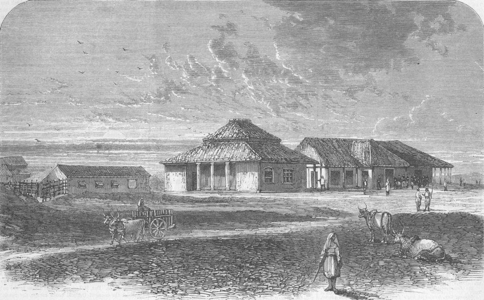 Associate Product INDIA. 72nd Regiment Messhouse, Mhow, antique print, 1863